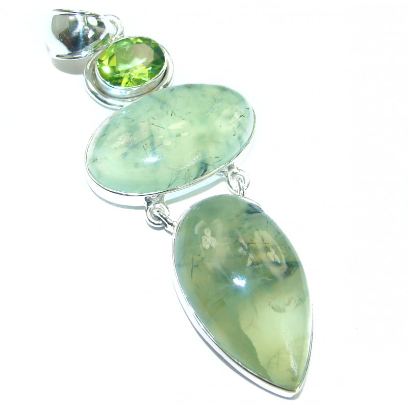 Pure Beauty Authentic Prehnite .925 Sterling Silver handmade pendant