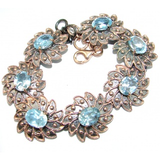 Authentic Swiss Blue Topaz Rose Gold over .925 Sterling Silver handmade Bracelet
