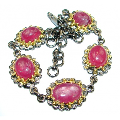Authentic Red Ruby 14K Gold over .925 Sterling Silver handcrafted Bracelet