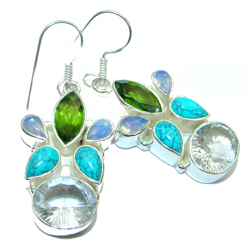 Rich Design white Topaz .925 Sterling Silver handcrafted earrings