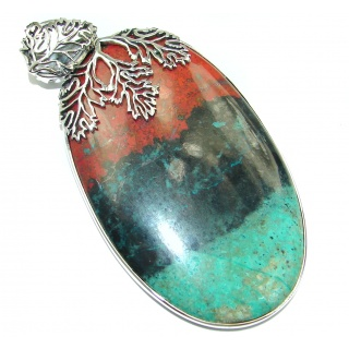 Huge Unique Natural Sonora Jasper .925 Sterling Silver handmade Pendant