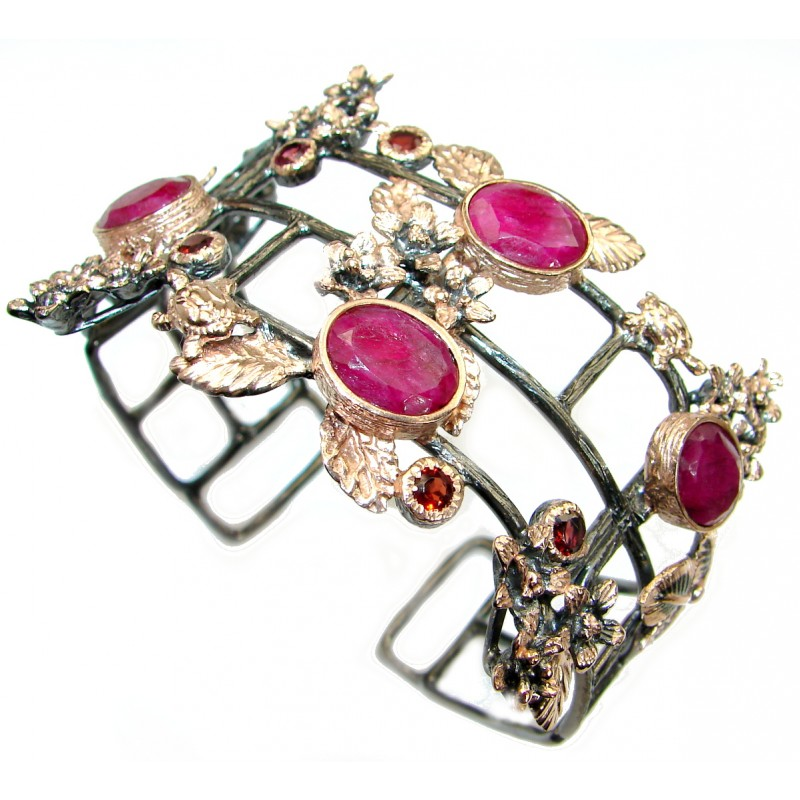 Big Dreamer Red Ruby 14K Gold over .925 Sterling Silver handcrafted Statement Bracelet / Cuff