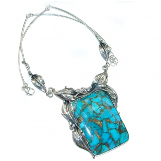 Genuine Turquoise with golden Copper vains .925 Sterling Silver statement necklace