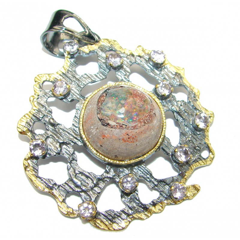 Natural Mexican Fire Opal Gold over .925 Sterling Silver handmade Pendant