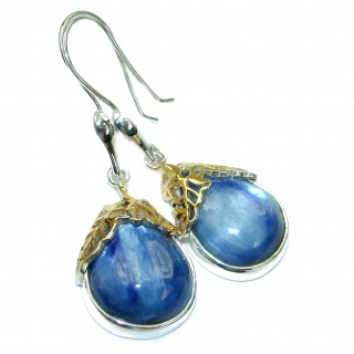 Floral Design Kyanite two tones .925 Sterling Silver handcrafted earrings