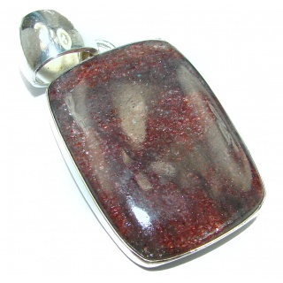 Huge Genuine Golden Calcite .925 Sterling Silver Pendant