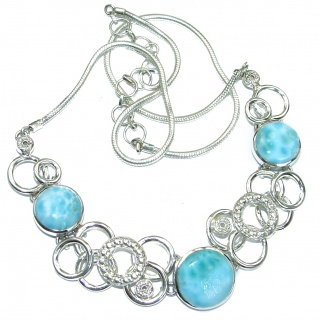 Ocean Halo genuine Larimar .925 Sterling Silver handmade necklace