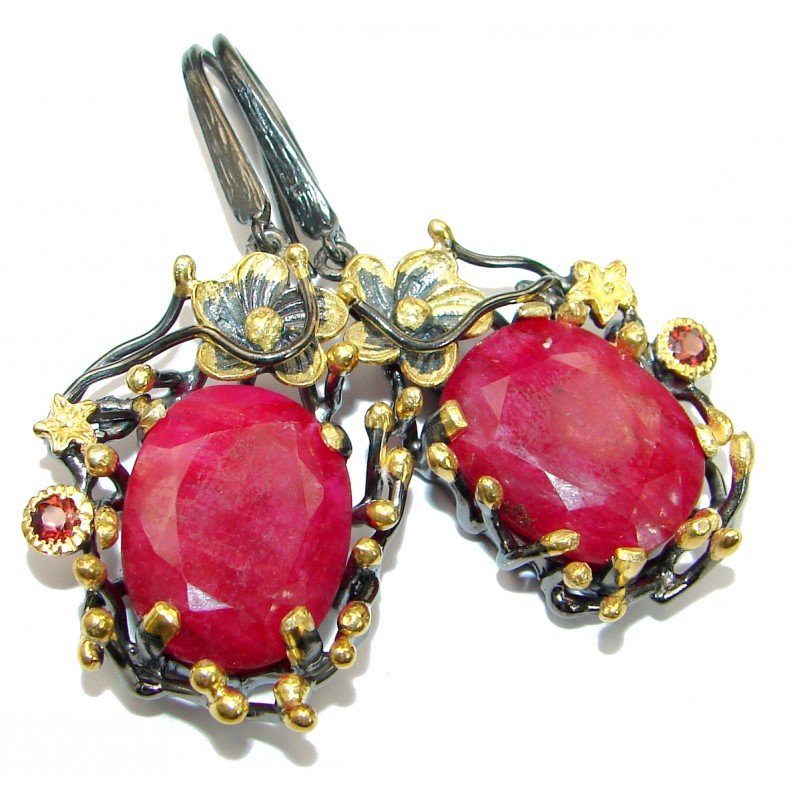 Large Juicy Unique Ruby 14K Gold over .925 Sterling Silver handmade earrings