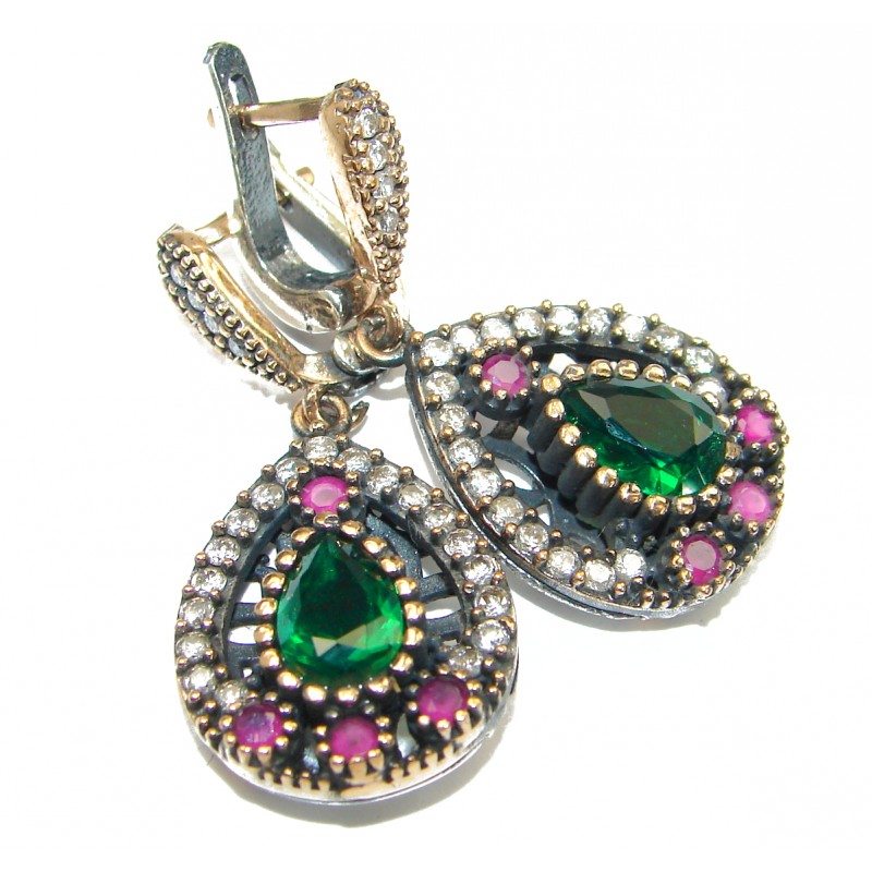 Classy Victorian Style created Green Emerald Sterling Silver handmade earrings