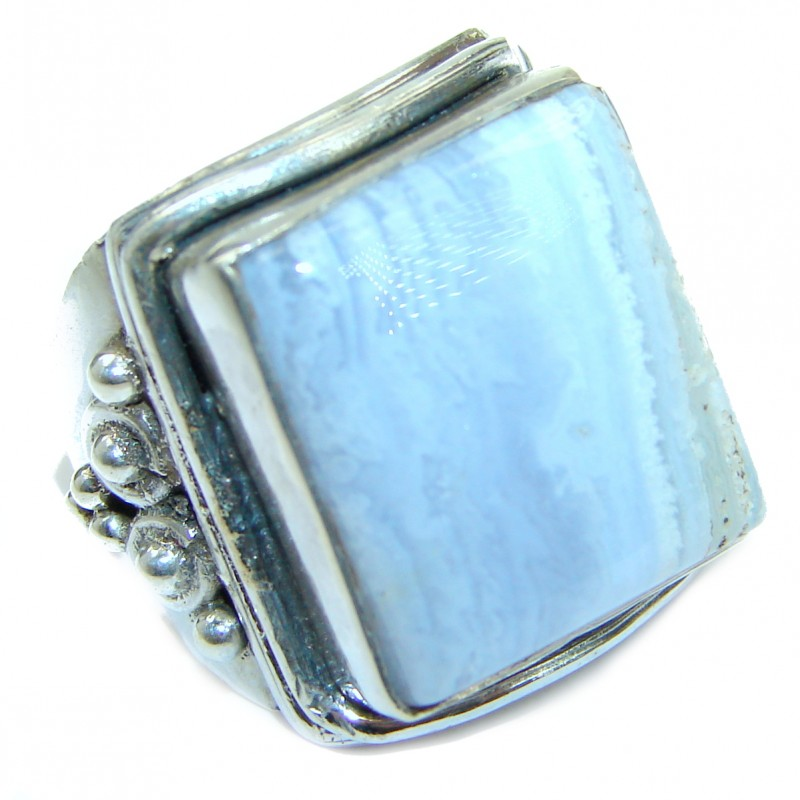 Excellent quality Crazy Lace Agate .925 Sterling Silver Ring s. 6