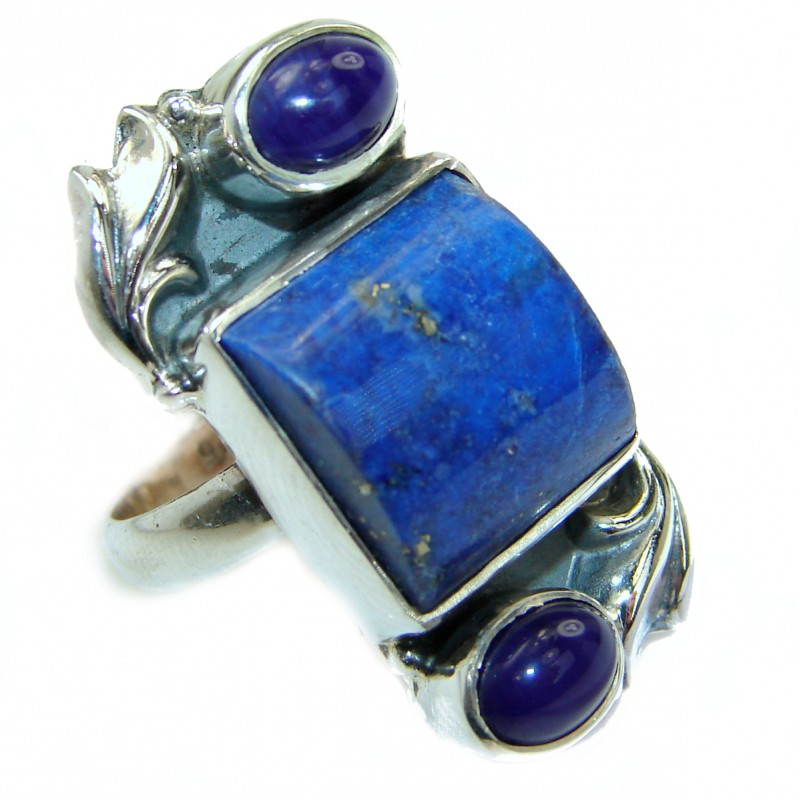 Ocean Inspired Lapis Lazuli .925 Sterling Silver handmade Cocktail Ring s. 7
