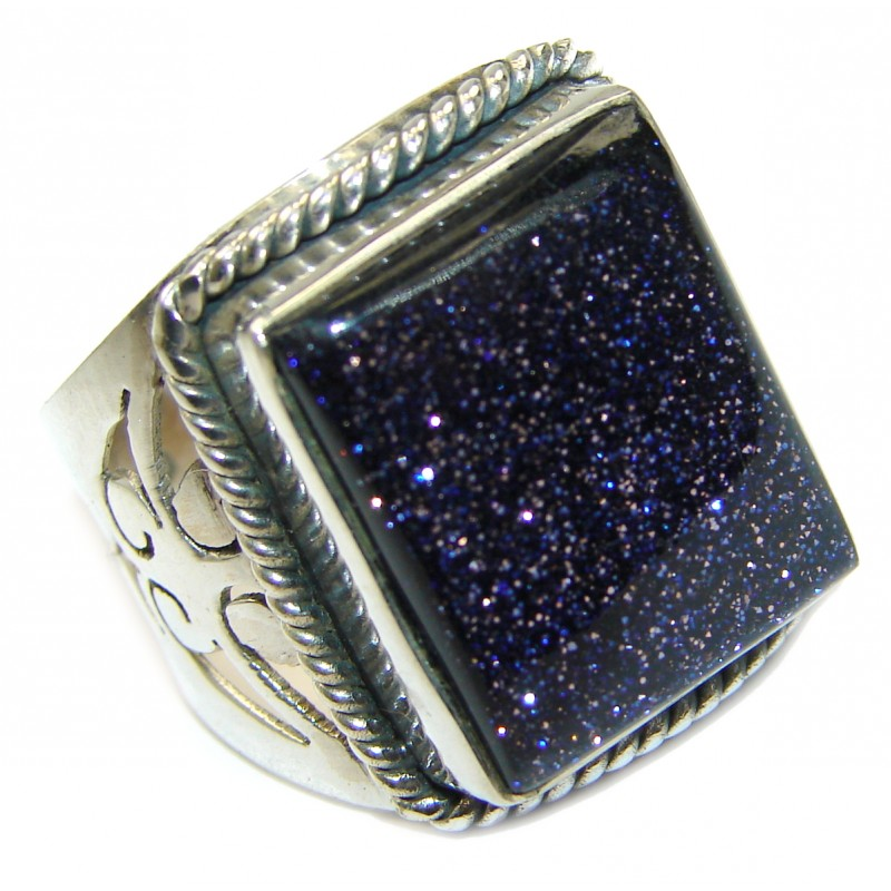 Natural 16.5 ct. Blue Sun Sitara .925 Sterling Silver Ring s. 8