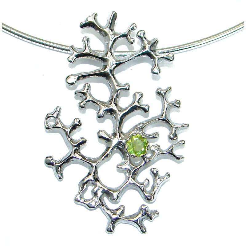 Genuine Peridot .925 Sterling Silver handcrafted necklace