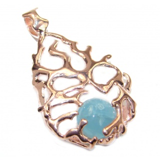 Genuine Aquamarine 14K Gold over .925 Sterling Silver handmade Pendant