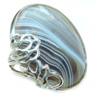 Exotic Botswana Agate .925 Silver handcrafted Ring s. 7 adjustable