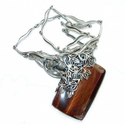 One of the kind Nature inspired Tigers Eye .925 Sterling Silver handmade necklace