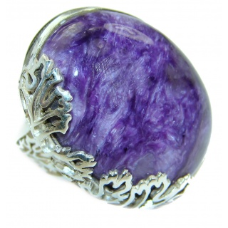 Genuine Siberian Charoite .925 Sterling Silver handmade Ring s. 8 adjustable