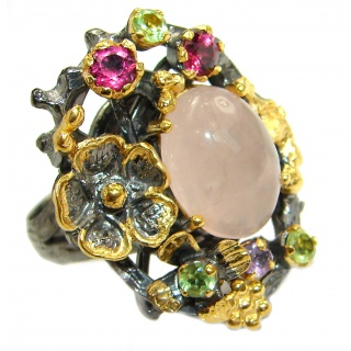 Garden Best Quality Rose Quartz 14K Gold over .925 Sterling Silver handcrafted ring s. 7 3/4