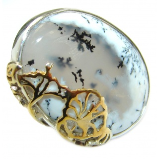Top Quality Dendritic Agate two tones .925 Sterling Silver hancrafted Ring s. 7 adjustable