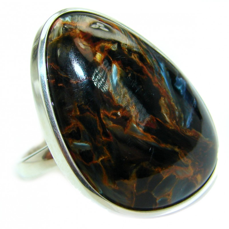 65ct Golden Pietersite .925 Sterling Silver handmade Ring size 8 adjustable