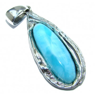 Blue Seduction genuine Larimar .925 Sterling Silver handmade pendant