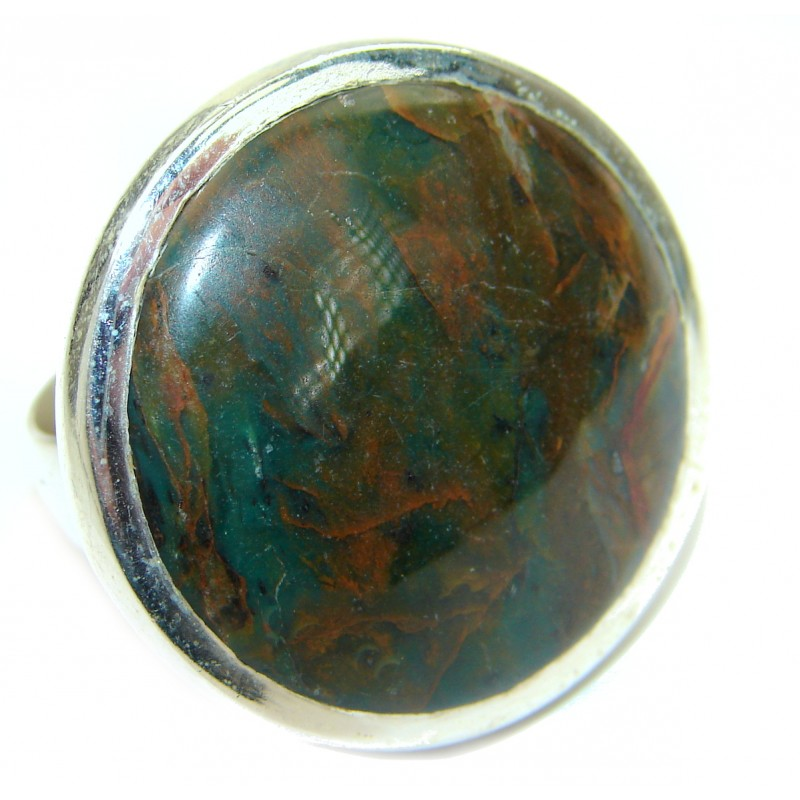 Natural Green Moss Agate .925 Sterling Silver handmade Cocktail Ring s. 8 1/2