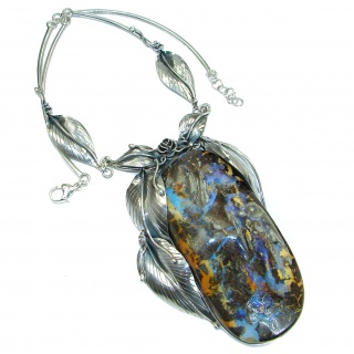 Huge 4 1/4 inch long stone Rustic Style Australian Boulder Opal .925 Sterling Silver brilliantly handcrafted necklace