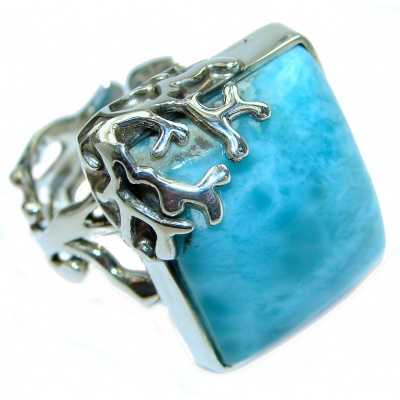 Bali Treasure Blue Larimar .925 Sterling Silver handmade ring s. 8 adjustable