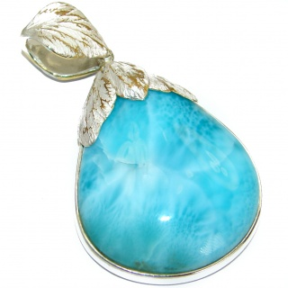 Rustic Design Blue Seduction genuine Larimar .925 Sterling Silver handmade pendant