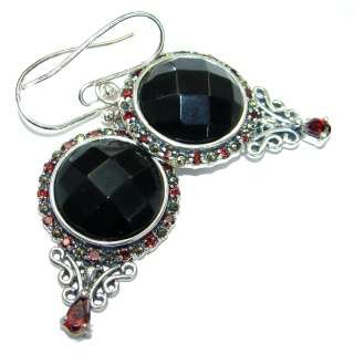 Just Perfect Black Onyx & Garnet .925 Sterling Silver HANDCRAFTED earrings