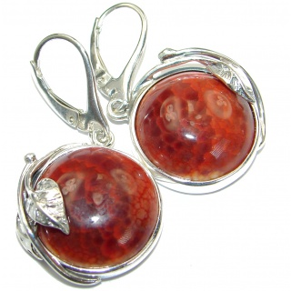 Unique Floral design genuine Mexican Agate .925 Sterling Silver handmade earrings