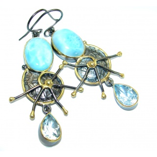 Ocean's Treasure Precious Blue Larimar .925 Sterling Silver handmade earrings