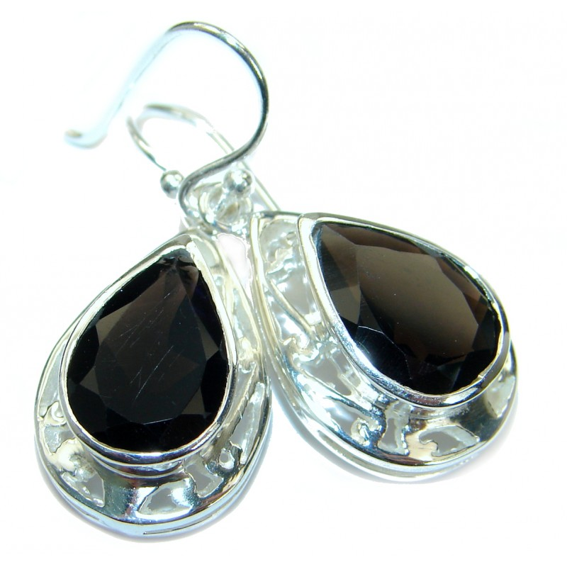 Vintage Style Smoky Topaz .925 Sterling Silver handmade earrings