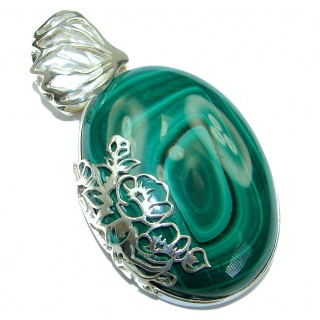 Top Quality AAA Malachite Oxidized .925 Sterling Silver handmade Pendant
