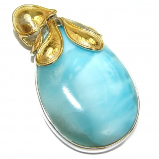 Vintage Design genuine Larimar 14K Gold over .925 Sterling Silver handmade pendant