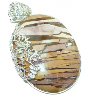 Aura Of Beauty Australian Bracciated Mookaite .925 Sterling Silver handcrafted pendant