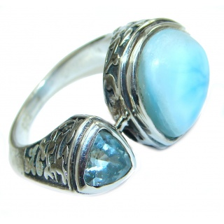 Bali Treasure Blue Larimar .925 Sterling Silver handmade ring s. 6