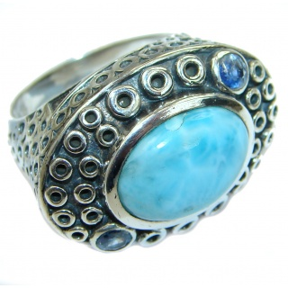Bali Treasure Blue Larimar .925 Sterling Silver handmade ring s. 7 3/4