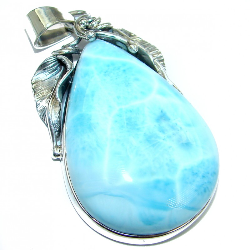 Huge Blue Beauty genuine Larimar .925 Sterling Silver handmade pendant