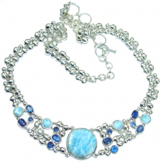 Luxury Larimar Kyanite Pearl .925 Sterling Silver handcrafted necklace