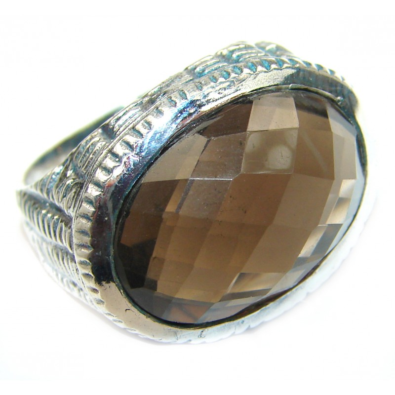 Huge Incredible Smoky Quartz .925 Sterling Silver Ring s. 7 3/4