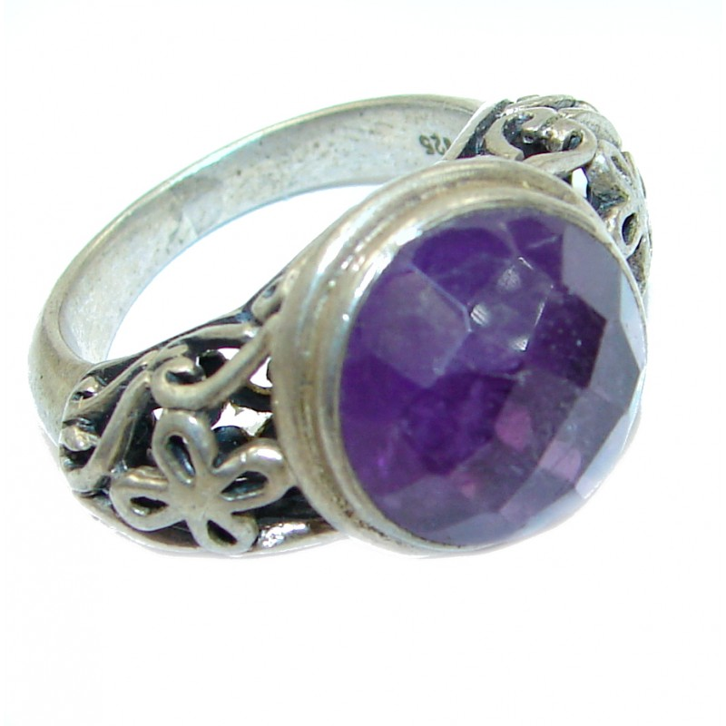 Vintage Style Amethyst .925 Sterling Silver handmade Cocktail Ring s. 6 3/4
