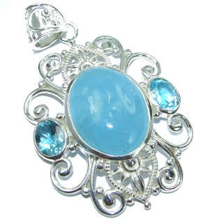 Blue Legacy Genuine 49 ct Aquamarine .925 Sterling Silver handmade Pendant