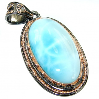 Blue Power genuine 55 ct Larimar 14K Gold over .925 Sterling Silver handmade pendant