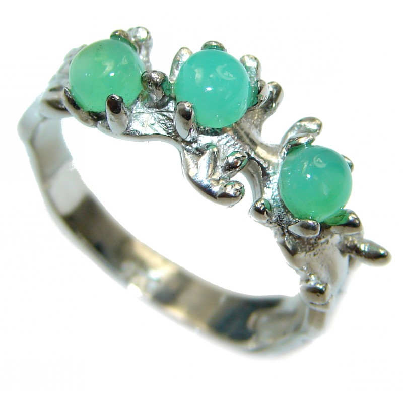Sublime Green Jade .925 Sterling Silver ring s. 8