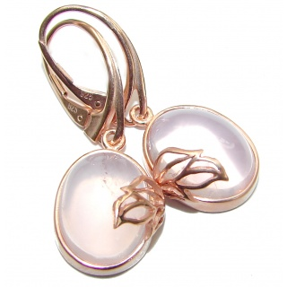 Enchanted Beauty genuine Rose Quartz 18K Gold over .925 Sterling Silver handmade earrings