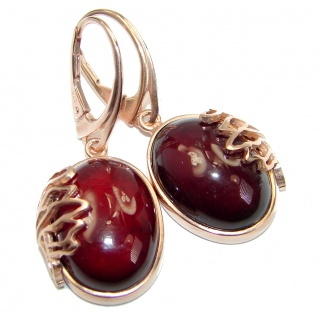 Authentic 43CT genuine Garnet 18k Gold over .925 Sterling Silver handmade earrings