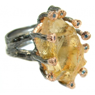 Vintage Style Rough Citrine .925 Sterling Silver handmade Cocktail Ring s. 6 1/4