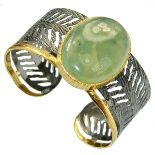 Baroque Design Genuine Moss Prehnite Gold Rhodium over .925 Sterling Silver Bracelet / Cuff