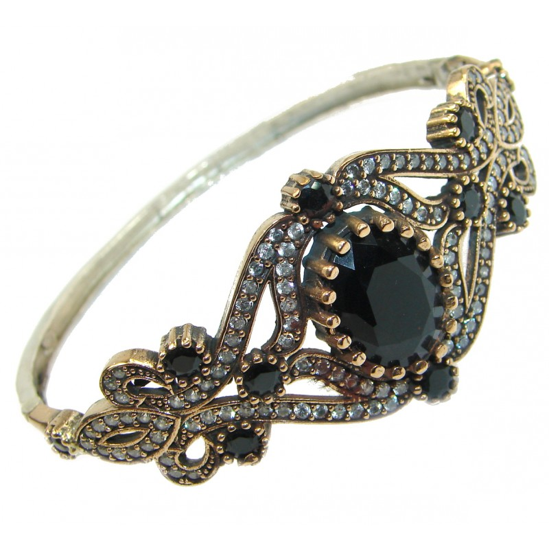 Victorian Style Onyx & White Topaz .925 Sterling Silver Bracelet Cuff